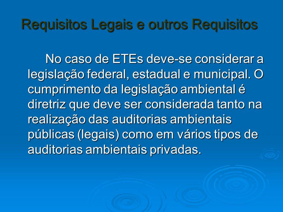 Requisitos Legais e outros Requisitos Requisitos Legais e outros Requisitos No caso de ETEs deve-se considerar a legislação federal, estadual e munici
