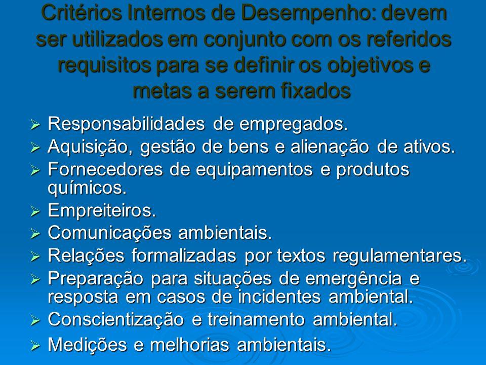 Critérios Internos de Desempenho: devem ser utilizados em conjunto com os referidos requisitos para se definir os objetivos e metas a serem fixados Critérios Internos de Desempenho: devem ser utilizados em conjunto com os referidos requisitos para se definir os objetivos e metas a serem fixados Responsabilidades de empregados.