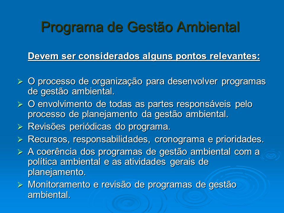 Programa de Gestão Ambiental Programa de Gestão Ambiental Devem ser considerados alguns pontos relevantes: O processo de organização para desenvolver programas de gestão ambiental.