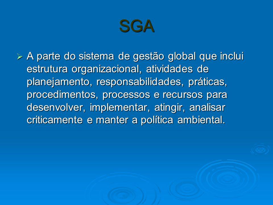 SGA A parte do sistema de gestão global que inclui estrutura organizacional, atividades de planejamento, responsabilidades, práticas, procedimentos, processos e recursos para desenvolver, implementar, atingir, analisar criticamente e manter a política ambiental.