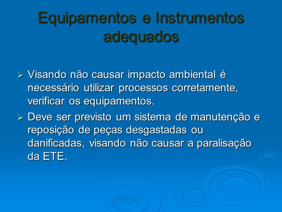 Equipamentos e Instrumentos adequados Visando não causar impacto ambiental é necessário utilizar processos corretamente, verificar os equipamentos. Vi