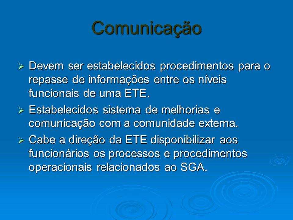 Comunicação Devem ser estabelecidos procedimentos para o repasse de informações entre os níveis funcionais de uma ETE. Devem ser estabelecidos procedi