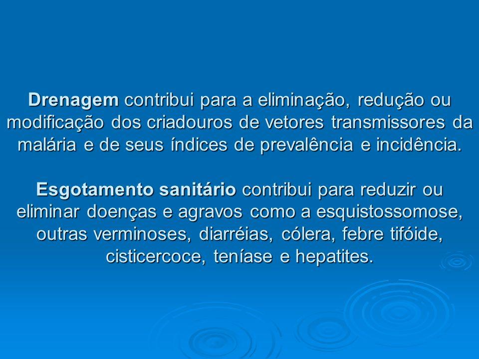 Drenagem contribui para a eliminação, redução ou modificação dos criadouros de vetores transmissores da malária e de seus índices de prevalência e inc