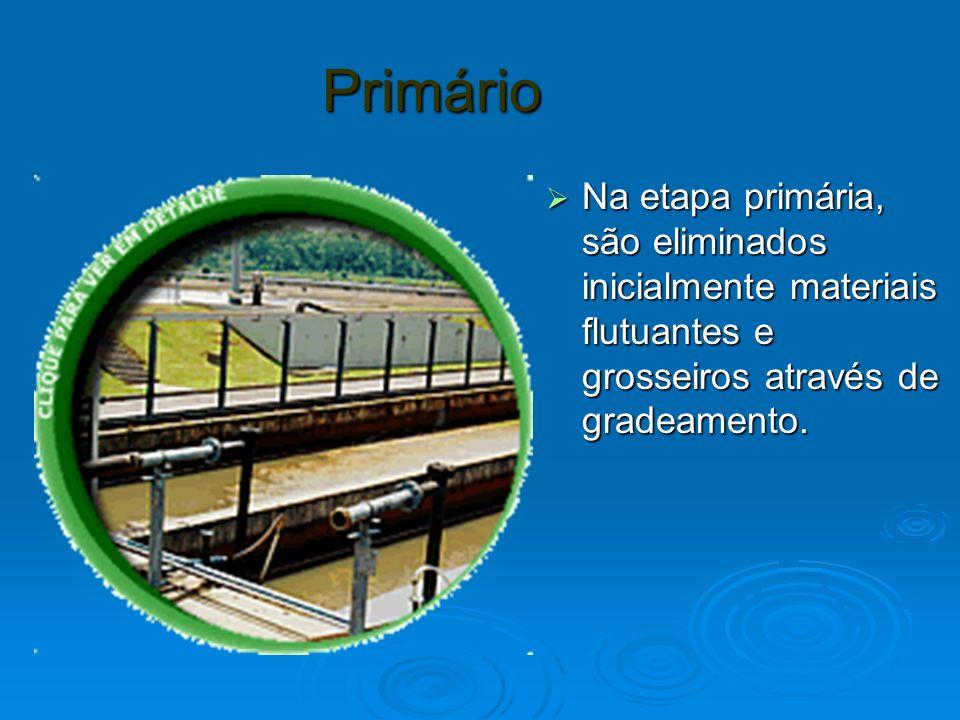 Primário Na etapa primária, são eliminados inicialmente materiais flutuantes e grosseiros através de gradeamento. Na etapa primária, são eliminados in