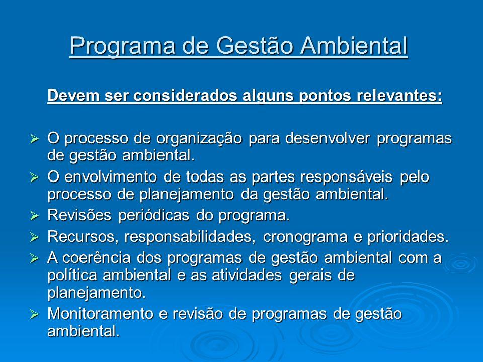 Programa de Gestão Ambiental Programa de Gestão Ambiental Devem ser considerados alguns pontos relevantes: O processo de organização para desenvolver