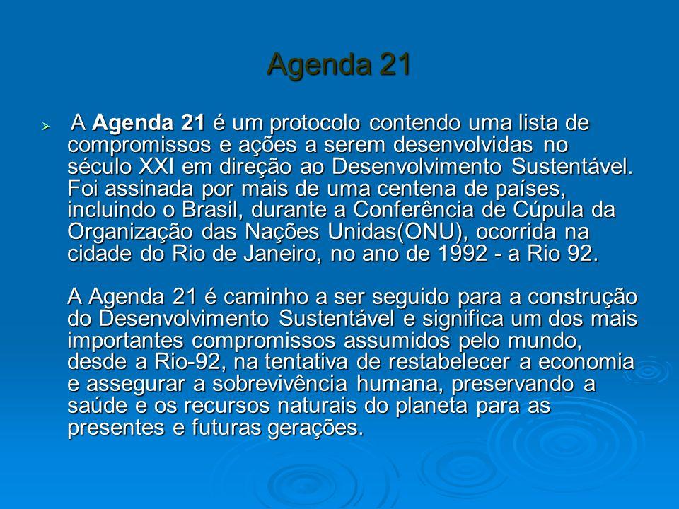 Agenda 21 A Agenda 21 é um protocolo contendo uma lista de compromissos e ações a serem desenvolvidas no século XXI em direção ao Desenvolvimento Sustentável.