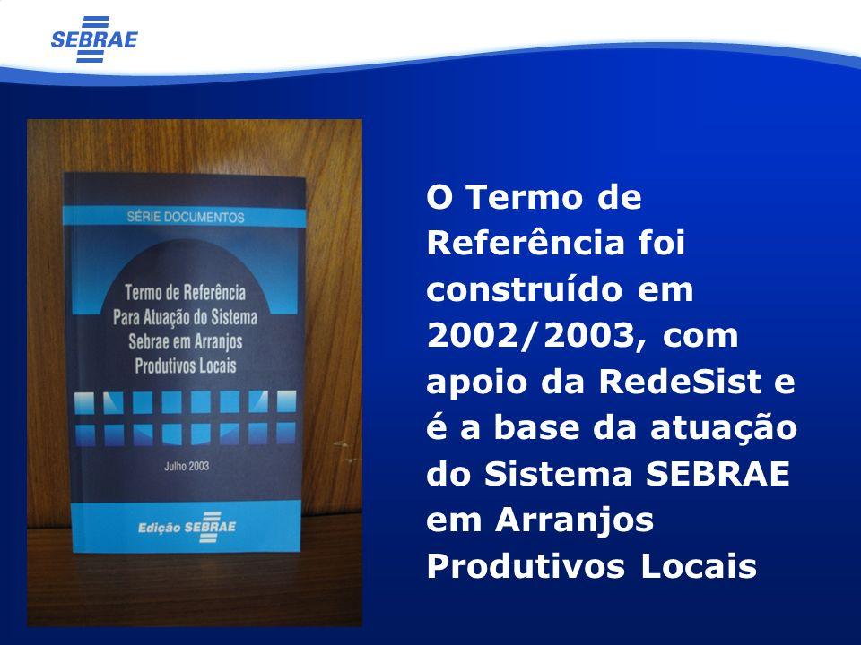 O Termo de Referência foi construído em 2002/2003, com apoio da RedeSist e é a base da atuação do Sistema SEBRAE em Arranjos Produtivos Locais