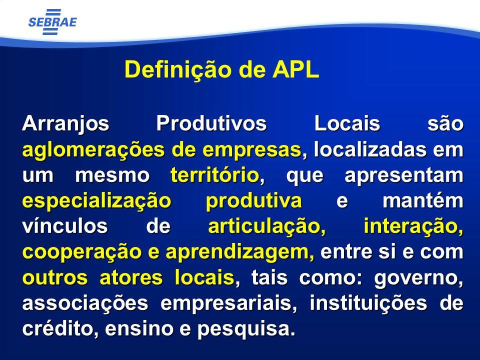 Arranjos Produtivos Locais são aglomerações de empresas, localizadas em um mesmo território, que apresentam especialização produtiva e mantém vínculos