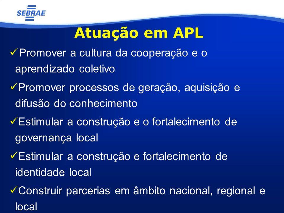 Atuação em APL Promover a cultura da cooperação e o aprendizado coletivo Promover processos de geração, aquisição e difusão do conhecimento Estimular