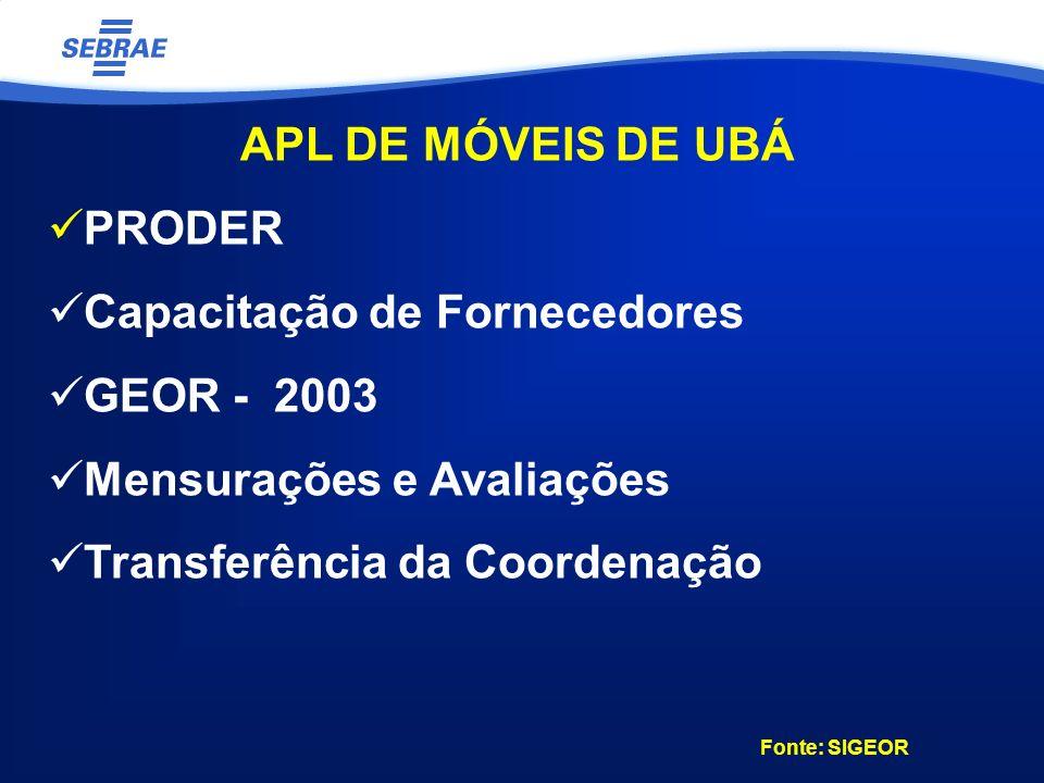 APL DE MÓVEIS DE UBÁ PRODER Capacitação de Fornecedores GEOR - 2003 Mensurações e Avaliações Transferência da Coordenação Fonte: SIGEOR
