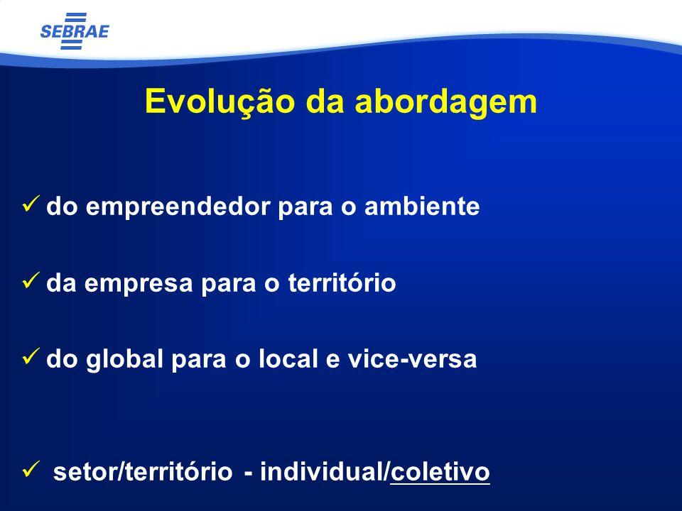 Evolução da abordagem do empreendedor para o ambiente da empresa para o território do global para o local e vice-versa setor/território - individual/coletivo