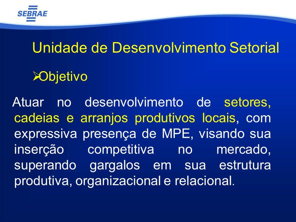 Unidade de Desenvolvimento Setorial Atuar no desenvolvimento de setores, cadeias e arranjos produtivos locais, com expressiva presença de MPE, visando sua inserção competitiva no mercado, superando gargalos em sua estrutura produtiva, organizacional e relacional.