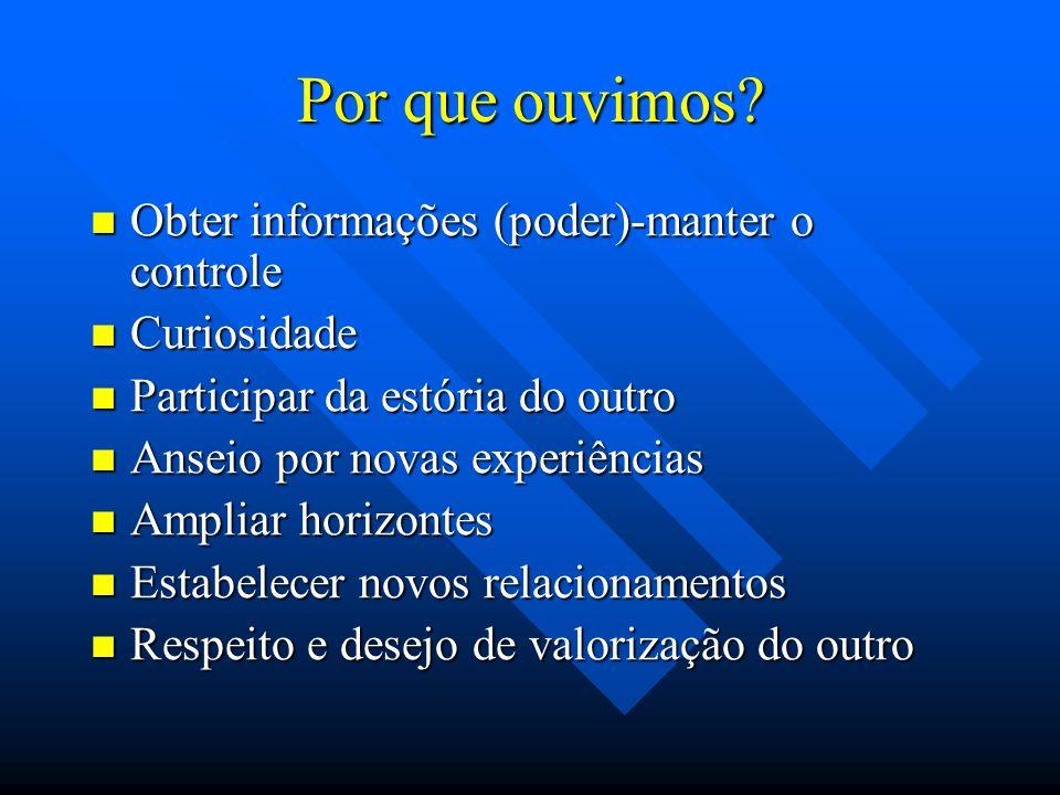 Por que ouvimos? Obter informações (poder)-manter o controle Obter informações (poder)-manter o controle Curiosidade Curiosidade Participar da estória