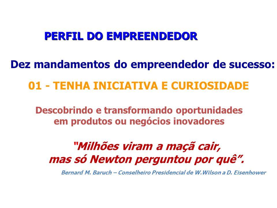 PERFIL DO EMPREENDEDOR PERFIL DO EMPREENDEDOR Dez mandamentos do empreendedor de sucesso: 01 - TENHA INICIATIVA E CURIOSIDADE Descobrindo e transforma