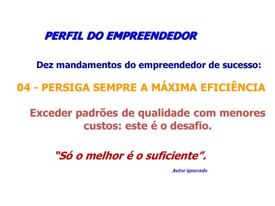 PERFIL DO EMPREENDEDOR PERFIL DO EMPREENDEDOR Dez mandamentos do empreendedor de sucesso: 04 - PERSIGA SEMPRE A MÁXIMA EFICIÊNCIA Exceder padrões de q