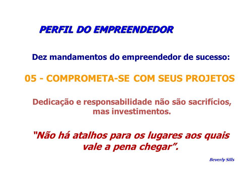 PERFIL DO EMPREENDEDOR PERFIL DO EMPREENDEDOR Dez mandamentos do empreendedor de sucesso: 05 - COMPROMETA-SE COM SEUS PROJETOS Dedicação e responsabil