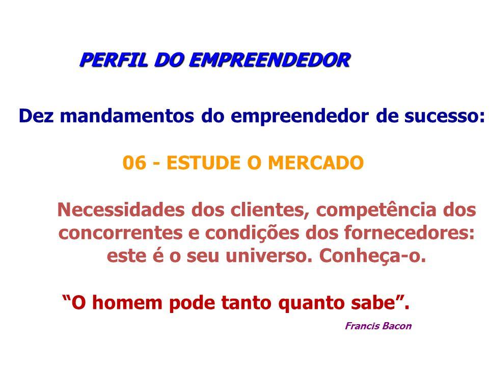 PERFIL DO EMPREENDEDOR PERFIL DO EMPREENDEDOR Dez mandamentos do empreendedor de sucesso: 06 - ESTUDE O MERCADO Necessidades dos clientes, competência