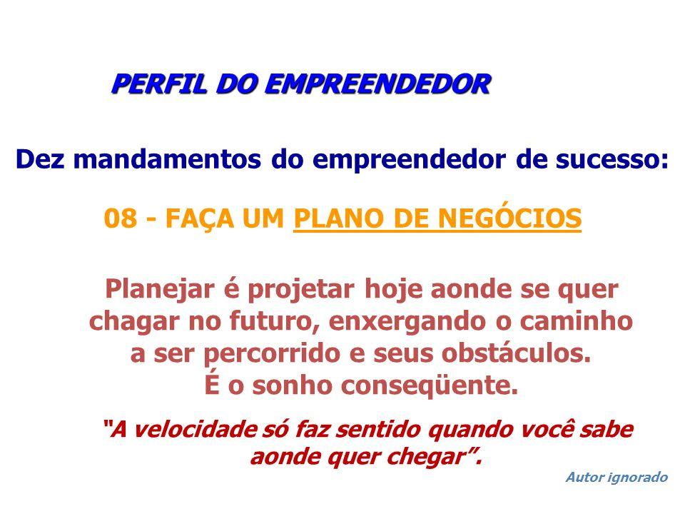 PERFIL DO EMPREENDEDOR PERFIL DO EMPREENDEDOR Dez mandamentos do empreendedor de sucesso: 08 - FAÇA UM PLANO DE NEGÓCIOS Planejar é projetar hoje aond