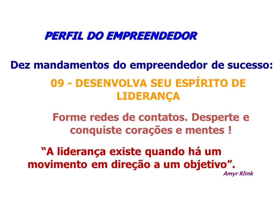 PERFIL DO EMPREENDEDOR PERFIL DO EMPREENDEDOR Dez mandamentos do empreendedor de sucesso: 09 - DESENVOLVA SEU ESPÍRITO DE LIDERANÇA Forme redes de con