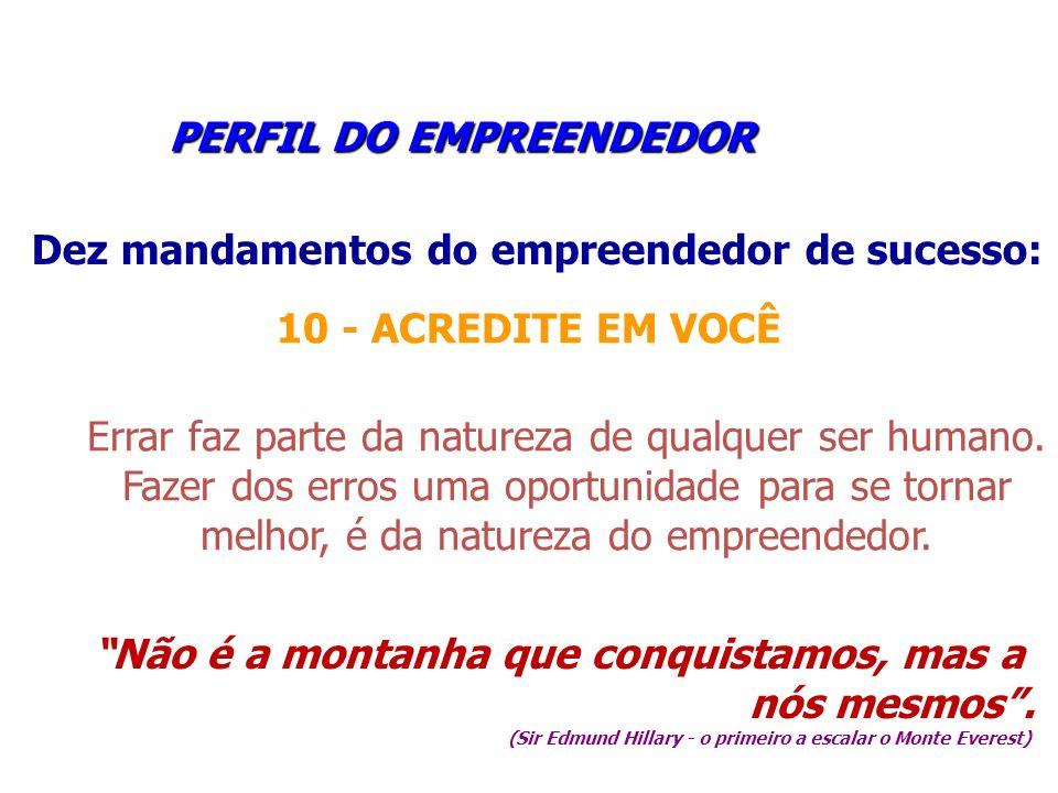 PERFIL DO EMPREENDEDOR PERFIL DO EMPREENDEDOR Dez mandamentos do empreendedor de sucesso: 10 - ACREDITE EM VOCÊ Errar faz parte da natureza de qualque
