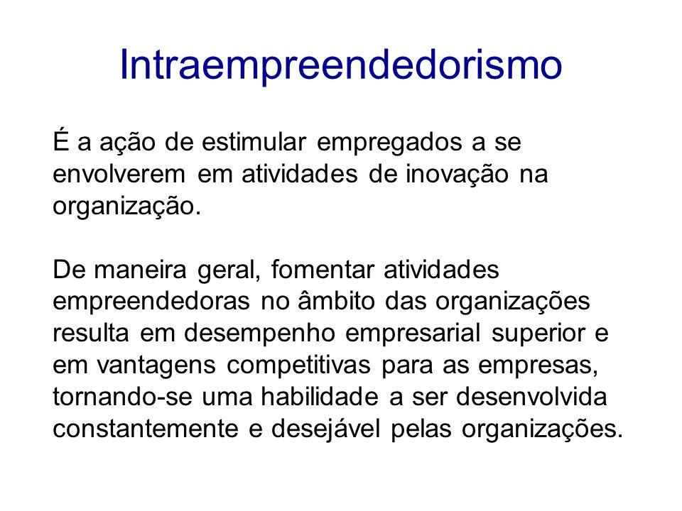 Intraempreendedorismo É a ação de estimular empregados a se envolverem em atividades de inovação na organização. De maneira geral, fomentar atividades