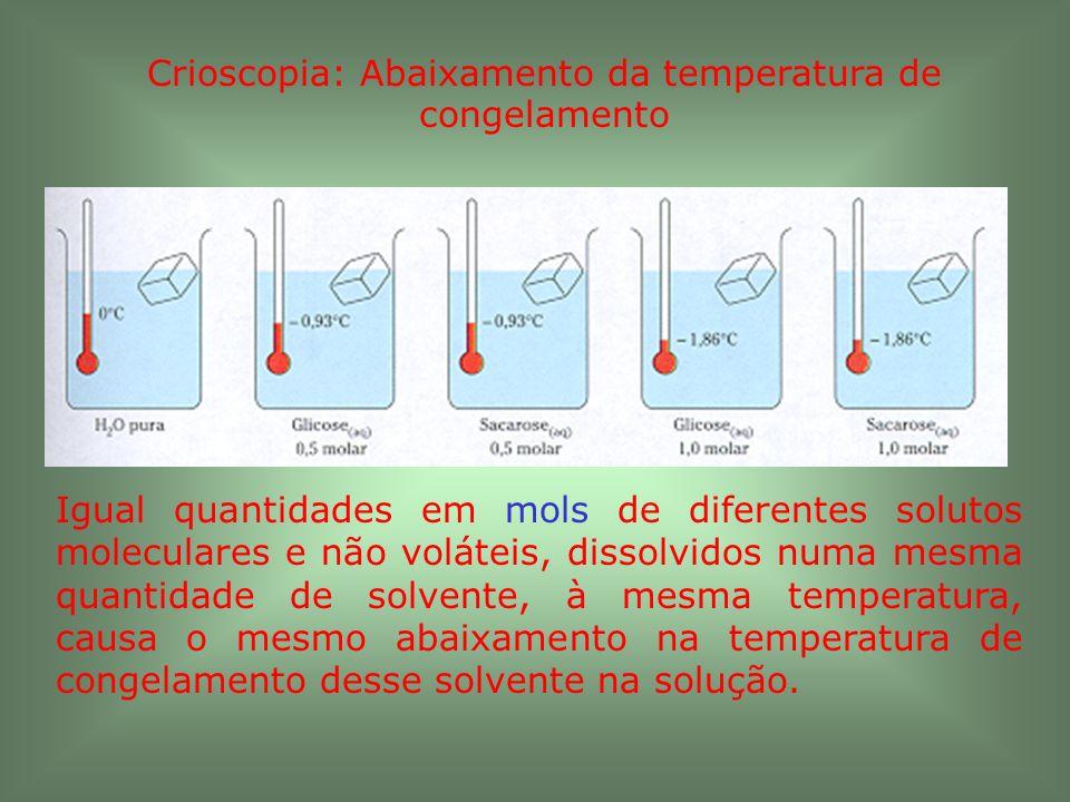 Crioscopia: Abaixamento da temperatura de congelamento Igual quantidades em mols de diferentes solutos moleculares e não voláteis, dissolvidos numa me