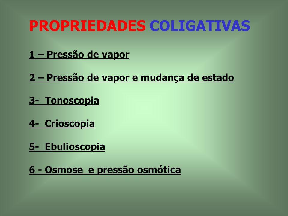 PROPRIEDADES COLIGATIVAS 1 – Pressão de vapor 2 – Pressão de vapor e mudança de estado 3- Tonoscopia 4- Crioscopia 5- Ebulioscopia 6 - Osmose e pressã