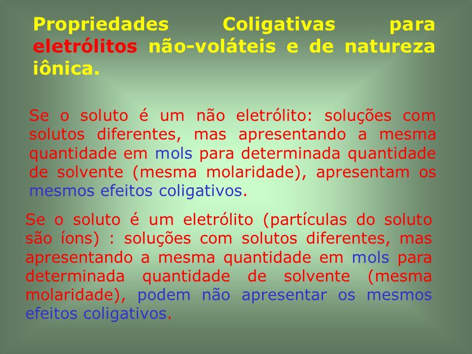Se o soluto é um não eletrólito: soluções com solutos diferentes, mas apresentando a mesma quantidade em mols para determinada quantidade de solvente
