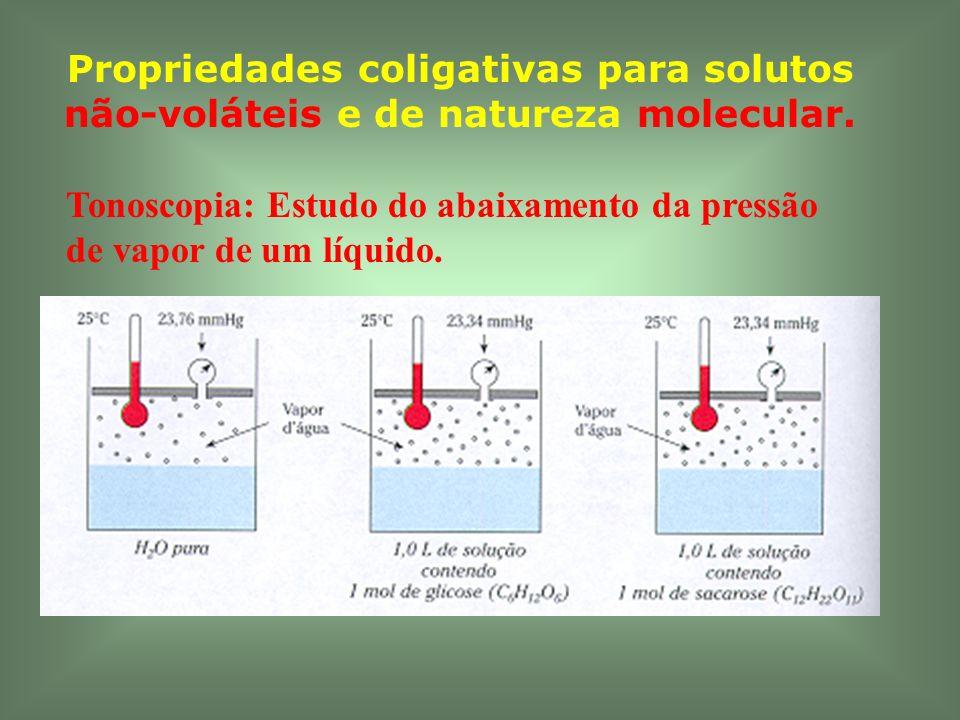 Propriedades coligativas para solutos não-voláteis e de natureza molecular. Tonoscopia: Estudo do abaixamento da pressão de vapor de um líquido.