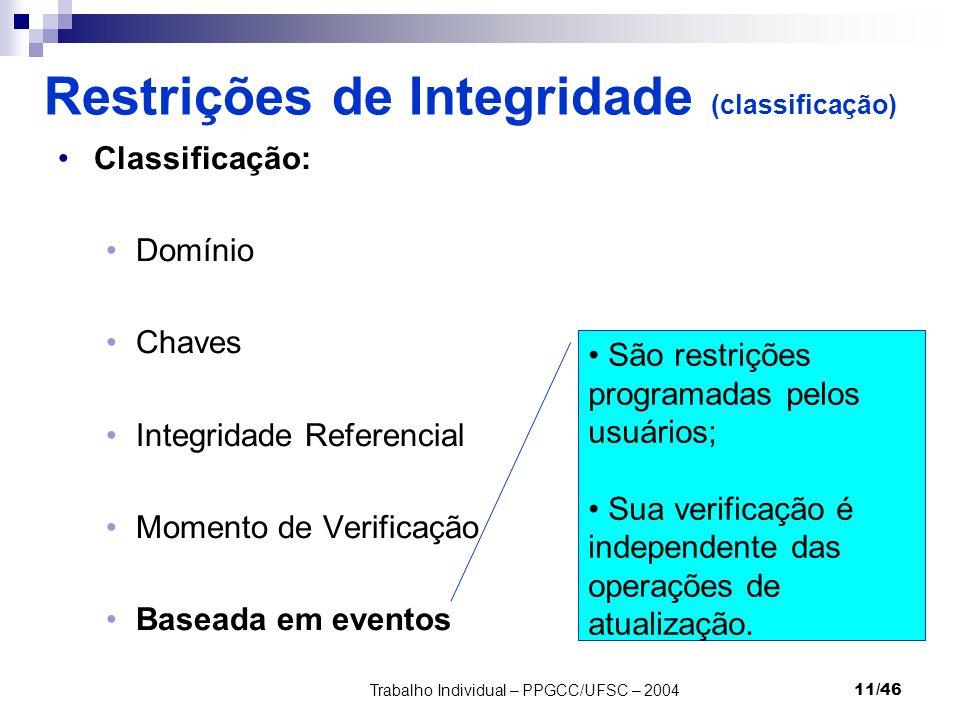 Trabalho Individual – PPGCC/UFSC – 200411/46 Restrições de Integridade (classificação) Classificação: Domínio Chaves Integridade Referencial Momento d