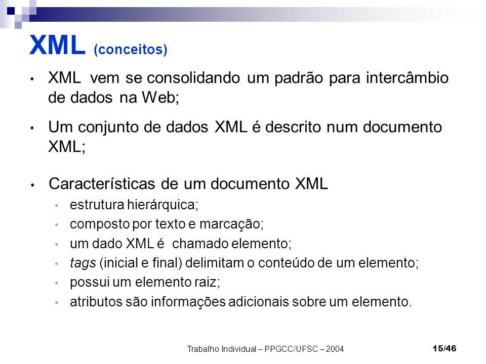 Trabalho Individual – PPGCC/UFSC – 200415/46 XML (conceitos) XML vem se consolidando um padrão para intercâmbio de dados na Web; Um conjunto de dados