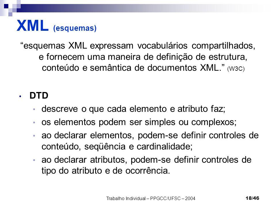 Trabalho Individual – PPGCC/UFSC – 200418/46 XML (esquemas) esquemas XML expressam vocabulários compartilhados, e fornecem uma maneira de definição de