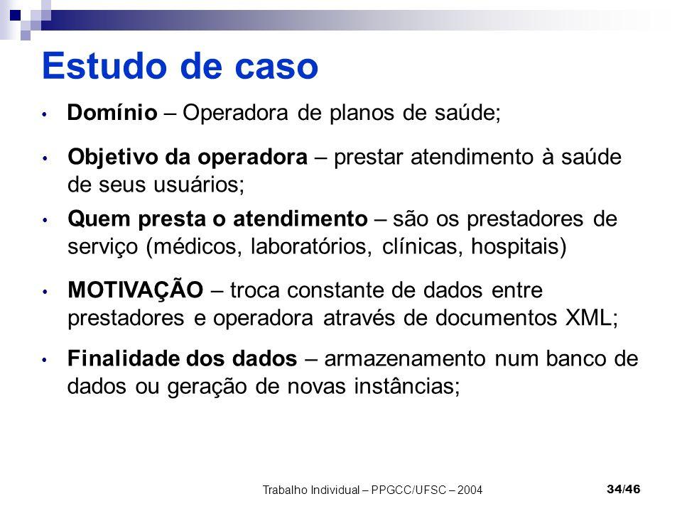 Trabalho Individual – PPGCC/UFSC – 200434/46 Estudo de caso Domínio – Operadora de planos de saúde; Objetivo da operadora – prestar atendimento à saúd