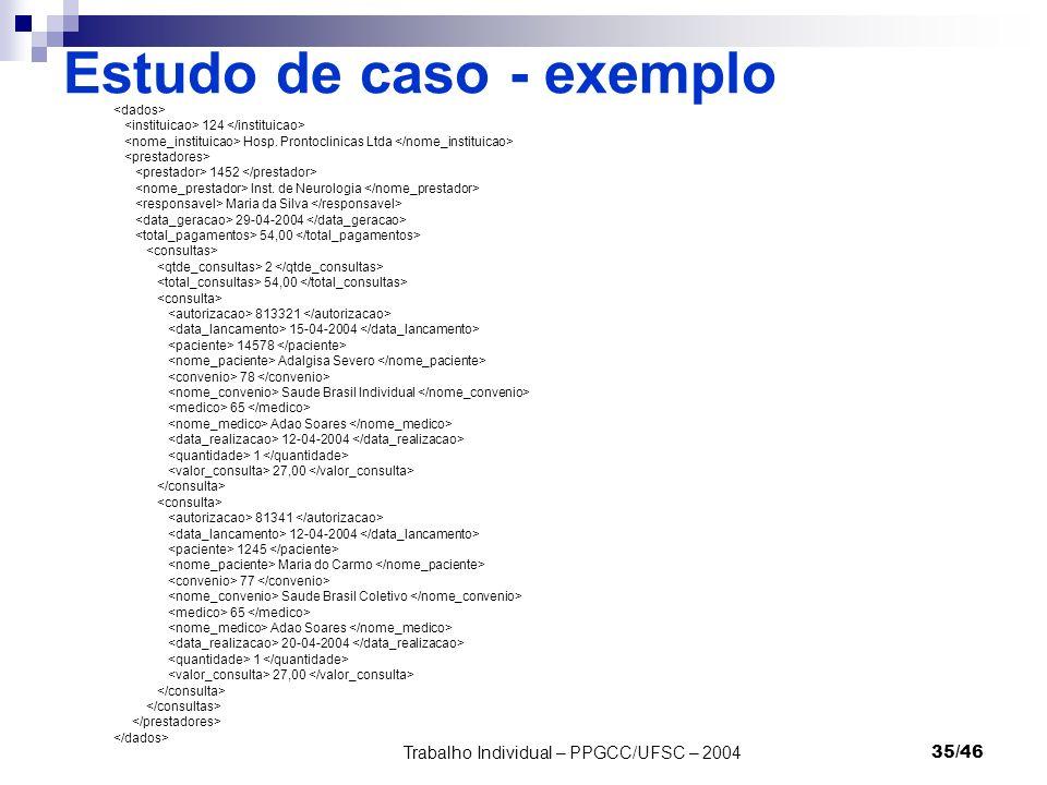 Trabalho Individual – PPGCC/UFSC – 200435/46 Estudo de caso - exemplo 124 Hosp. Prontoclinicas Ltda 1452 Inst. de Neurologia Maria da Silva 29-04-2004