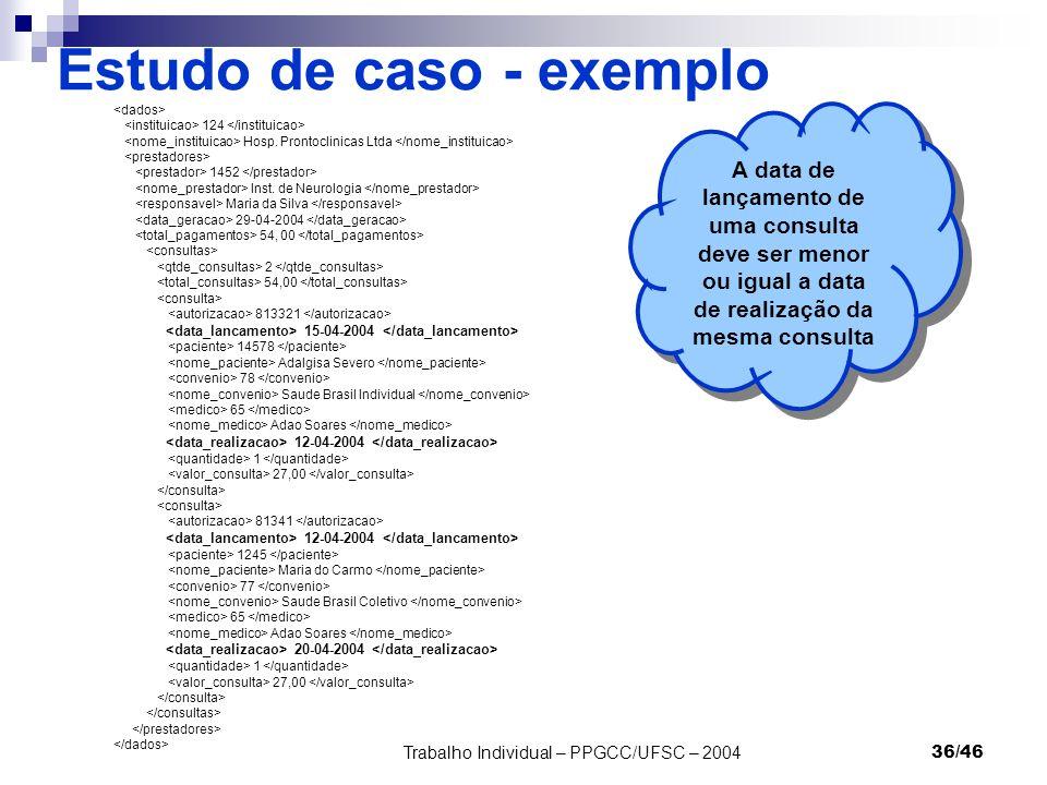 Trabalho Individual – PPGCC/UFSC – 200436/46 Estudo de caso - exemplo 124 Hosp. Prontoclinicas Ltda 1452 Inst. de Neurologia Maria da Silva 29-04-2004