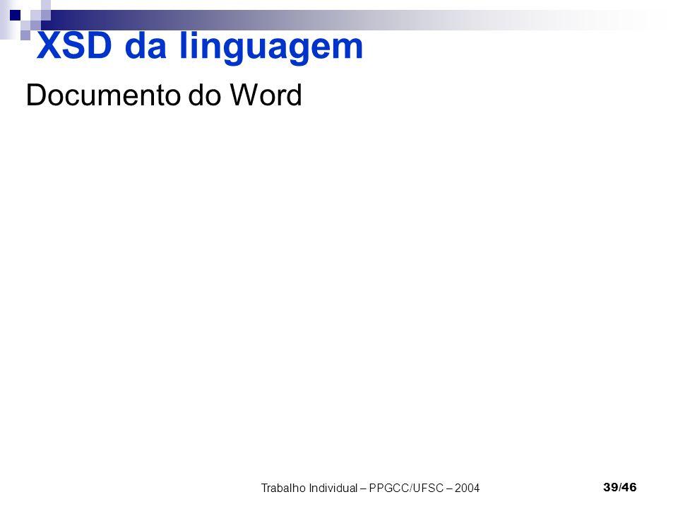Trabalho Individual – PPGCC/UFSC – 200439/46 XSD da linguagem Documento do Word