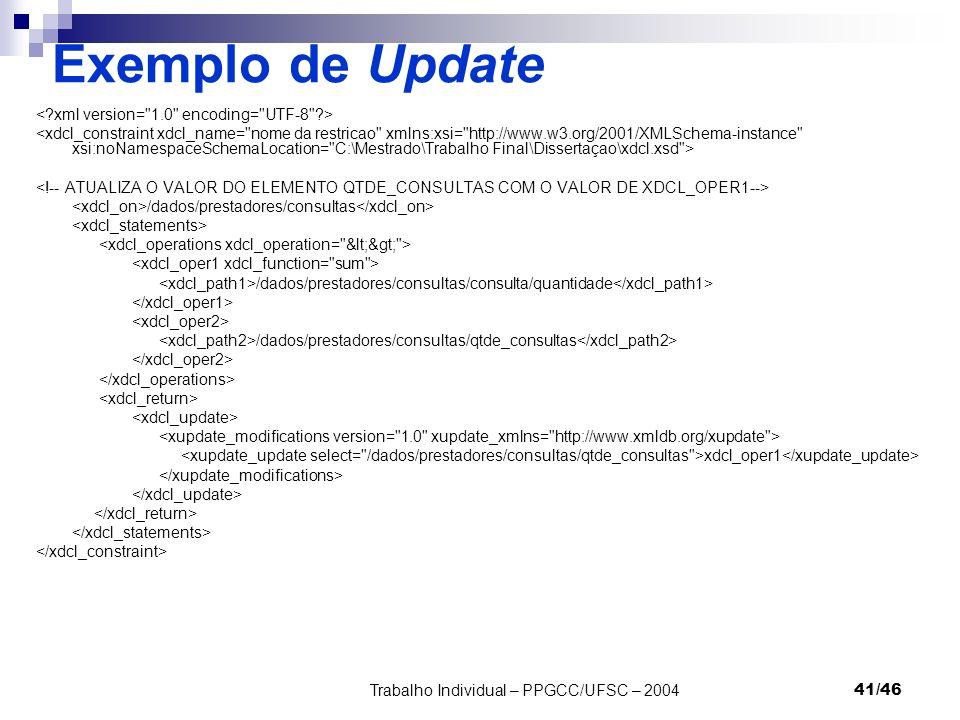 Trabalho Individual – PPGCC/UFSC – 200441/46 Exemplo de Update /dados/prestadores/consultas /dados/prestadores/consultas/consulta/quantidade /dados/pr
