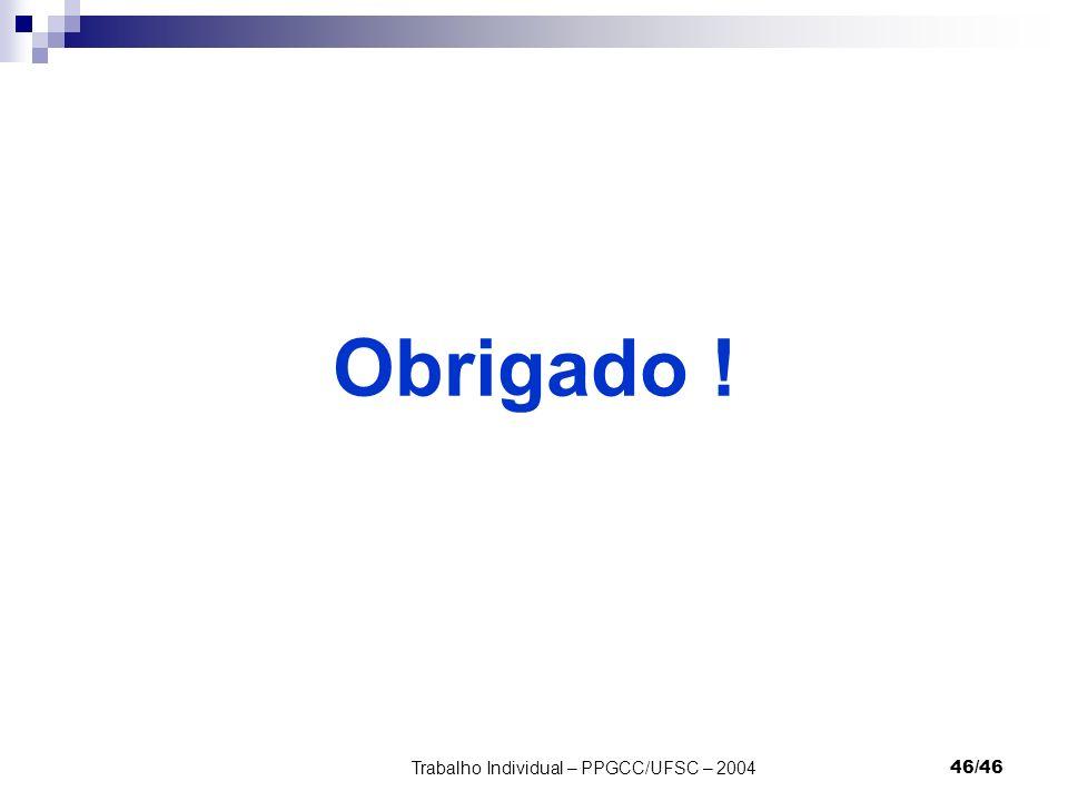 Trabalho Individual – PPGCC/UFSC – 200446/46 Obrigado !