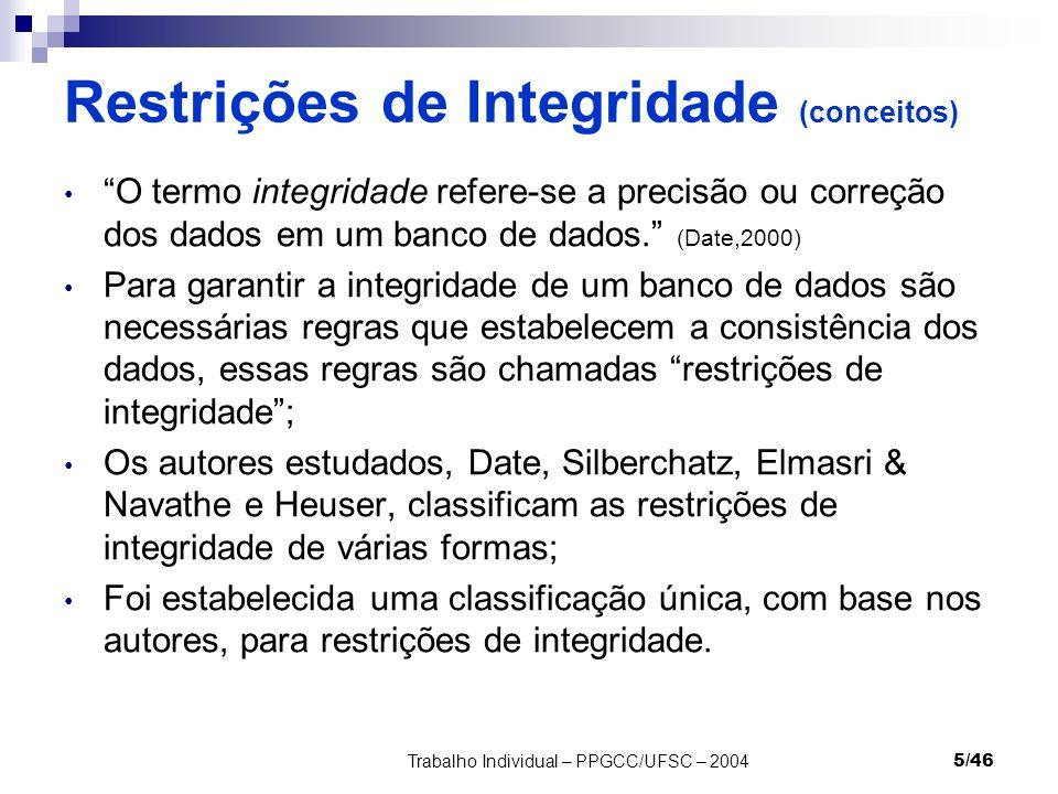Trabalho Individual – PPGCC/UFSC – 20045/46 Restrições de Integridade (conceitos) O termo integridade refere-se a precisão ou correção dos dados em um