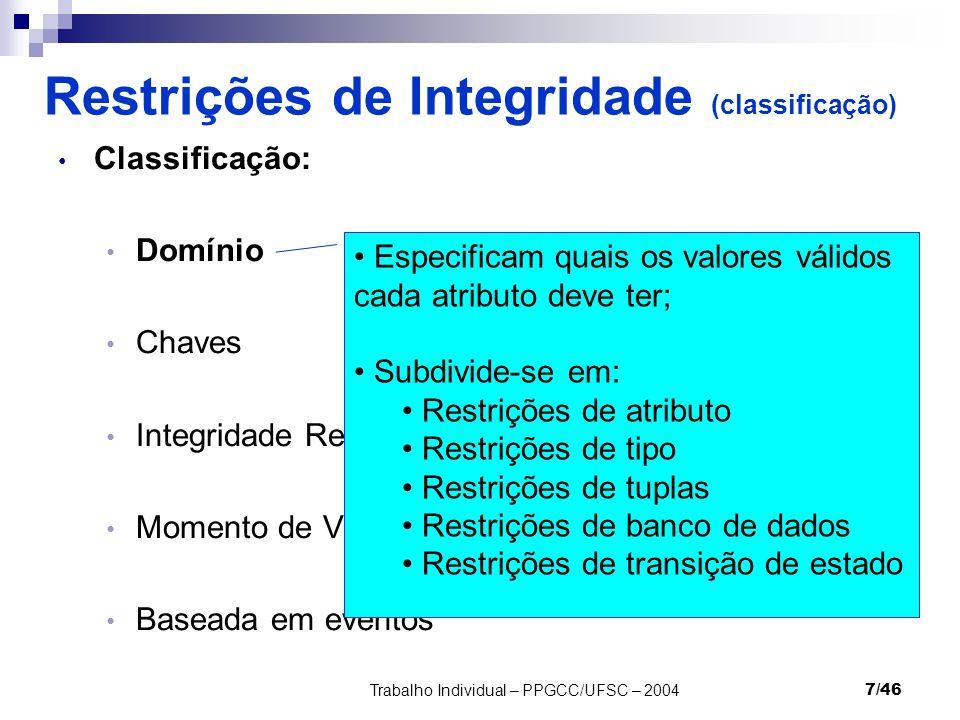 Trabalho Individual – PPGCC/UFSC – 20047/46 Restrições de Integridade (classificação) Classificação: Domínio Chaves Integridade Referencial Momento de