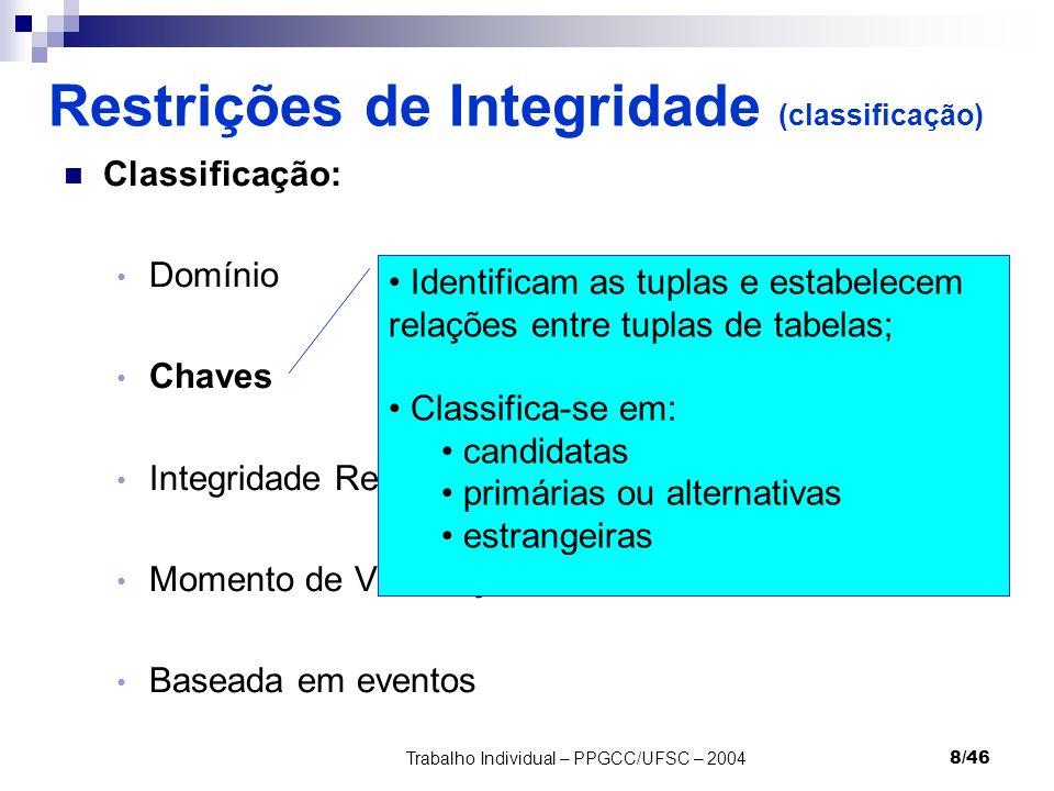 Trabalho Individual – PPGCC/UFSC – 20048/46 Restrições de Integridade (classificação) Classificação: Domínio Chaves Integridade Referencial Momento de