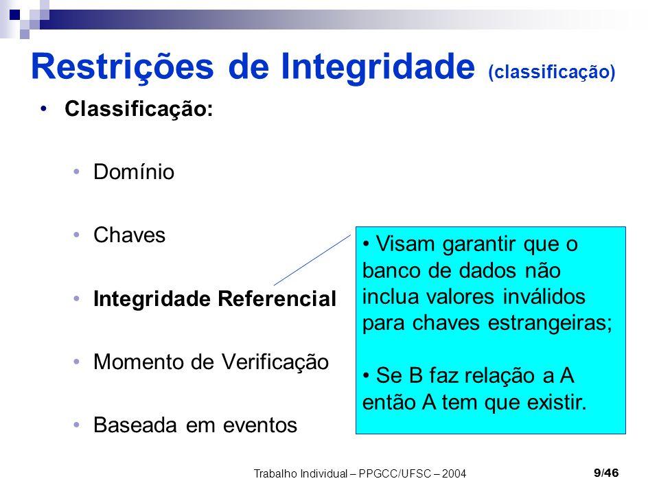 Trabalho Individual – PPGCC/UFSC – 20049/46 Restrições de Integridade (classificação) Classificação: Domínio Chaves Integridade Referencial Momento de