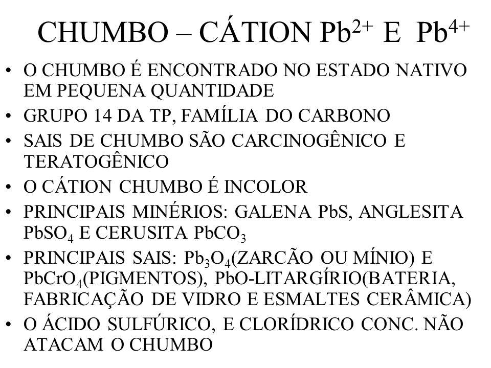 CHUMBO – CÁTION Pb 2+ E Pb 4+ O CHUMBO É ENCONTRADO NO ESTADO NATIVO EM PEQUENA QUANTIDADE GRUPO 14 DA TP, FAMÍLIA DO CARBONO SAIS DE CHUMBO SÃO CARCI
