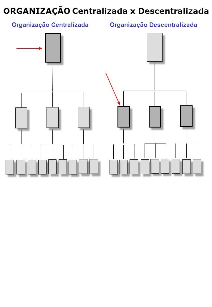 ORGANIZAÇÃO Centralizada x Descentralizada Organização Centralizada Organização Descentralizada