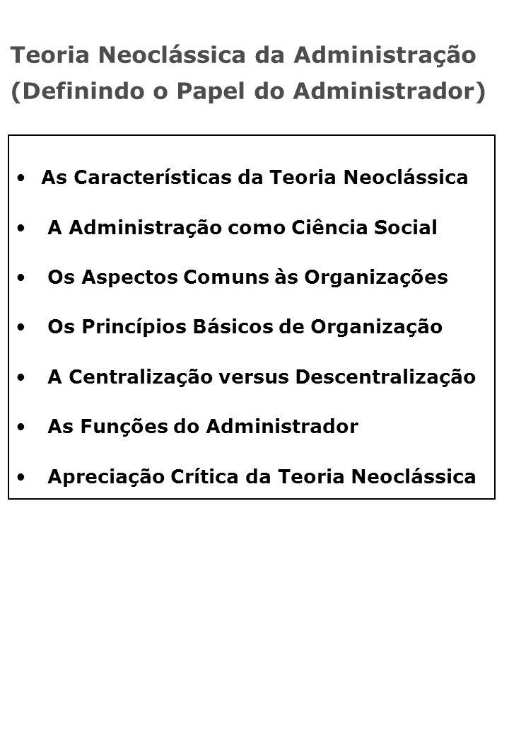 Teoria Neoclássica da Administração (Definindo o Papel do Administrador) As Características da Teoria Neoclássica A Administração como Ciência Social Os Aspectos Comuns às Organizações Os Princípios Básicos de Organização A Centralização versus Descentralização As Funções do Administrador Apreciação Crítica da Teoria Neoclássica