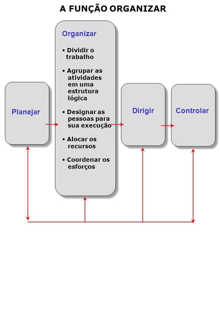 A FUNÇÃO ORGANIZAR Organizar Dividir o trabalho Agrupar as atividades em uma estrutura lógica Designar as pessoas para sua execução Alocar os recursos Coordenar os esforços Dirigir Controlar Planejar
