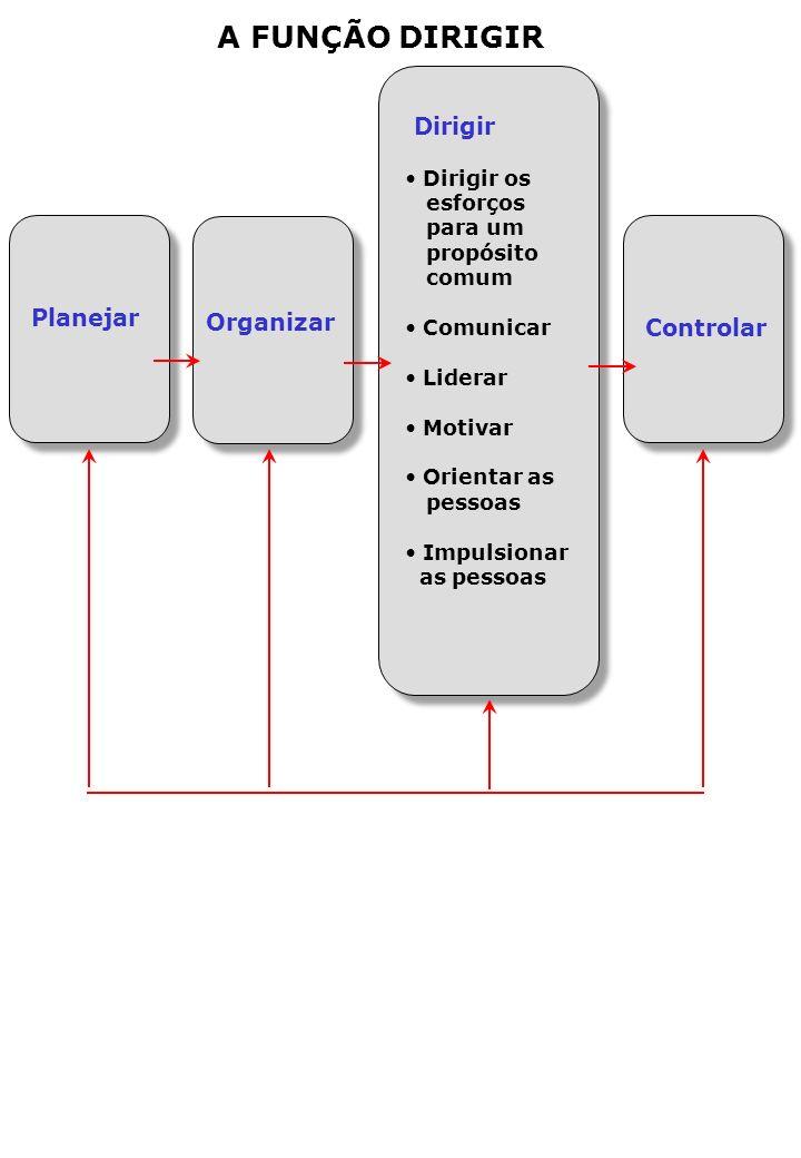 A FUNÇÃO DIRIGIR Dirigir Dirigir os esforços para um propósito comum Comunicar Liderar Motivar Orientar as pessoas Impulsionar as pessoas Organizar Controlar Planejar