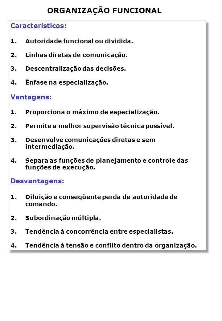 ORGANIZAÇÃO FUNCIONAL Características: 1.Autoridade funcional ou dividida.