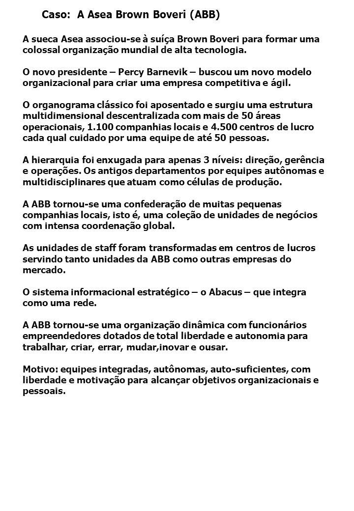 Caso: A Asea Brown Boveri (ABB) A sueca Asea associou-se à suíça Brown Boveri para formar uma colossal organização mundial de alta tecnologia.