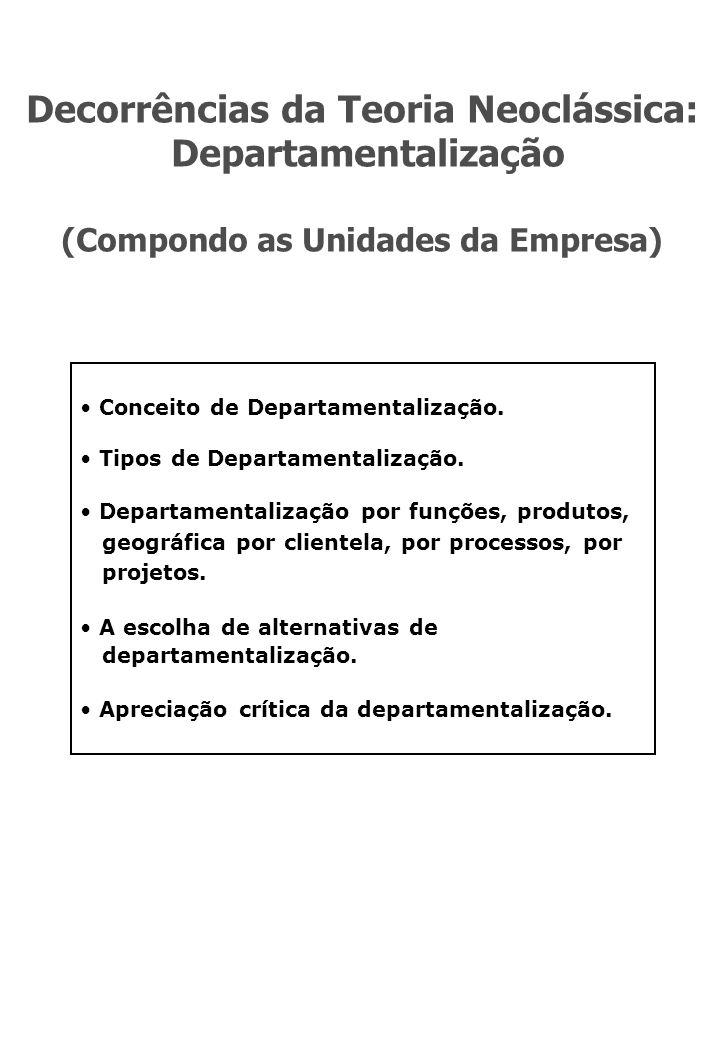 Decorrências da Teoria Neoclássica: Departamentalização (Compondo as Unidades da Empresa) Conceito de Departamentalização.